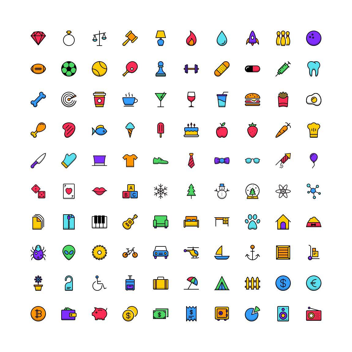 Free Funkies Flat Full Color Icon Set png svg illustrator