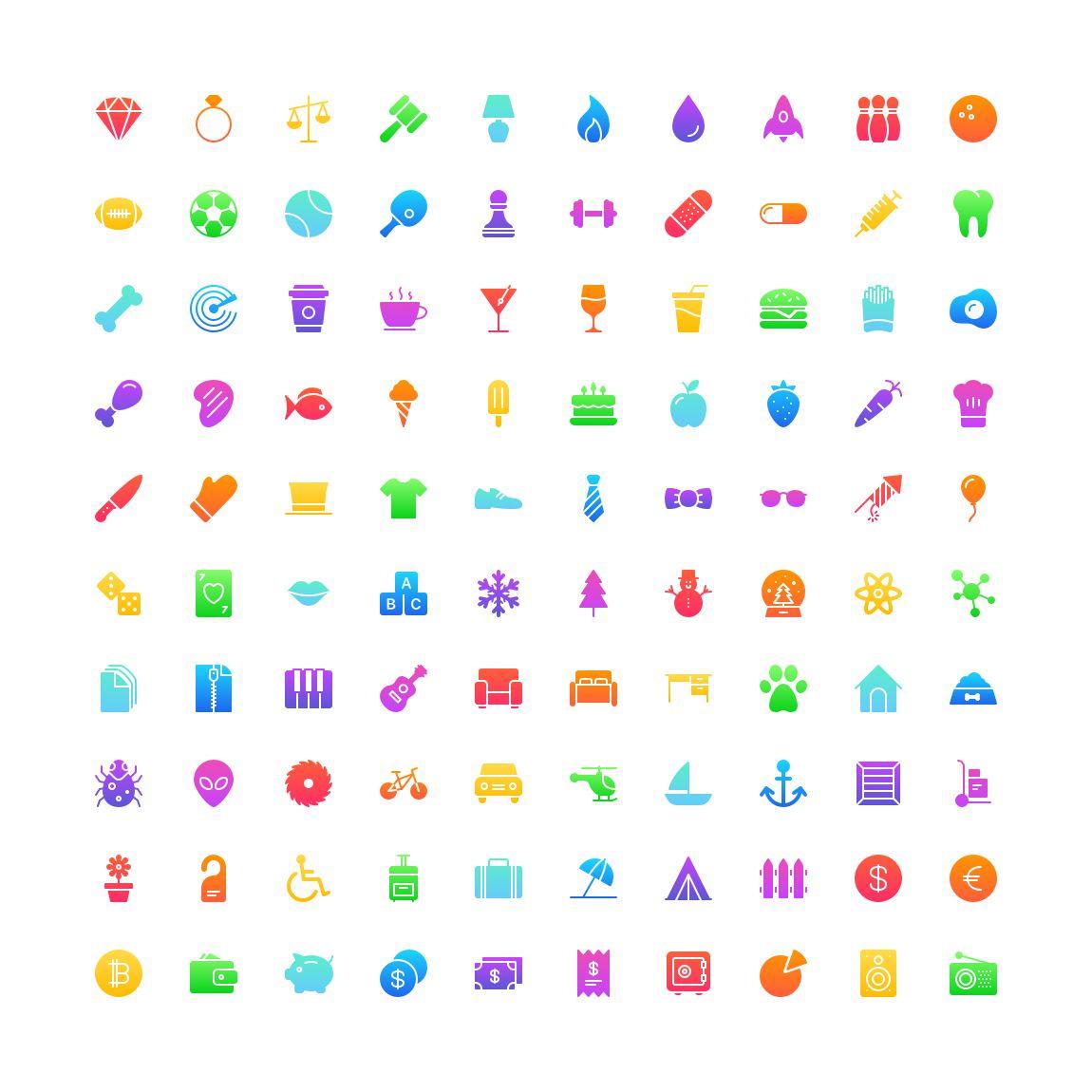 Free Funkies gradient filled Icon Set png svg illustrator