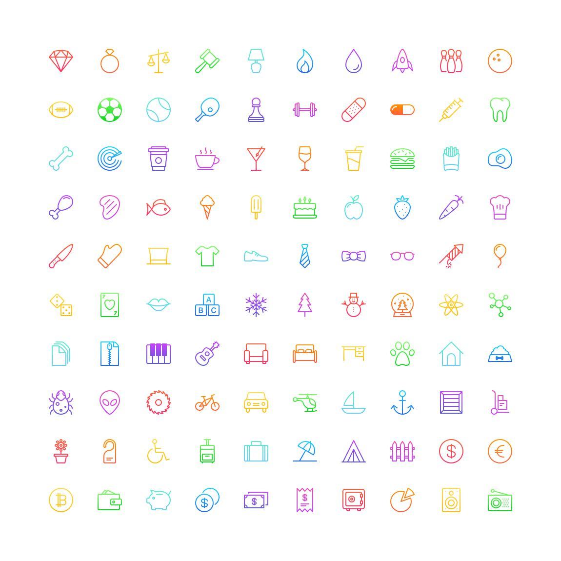 Free Funkies gradient outline Icon Set png svg illustrator