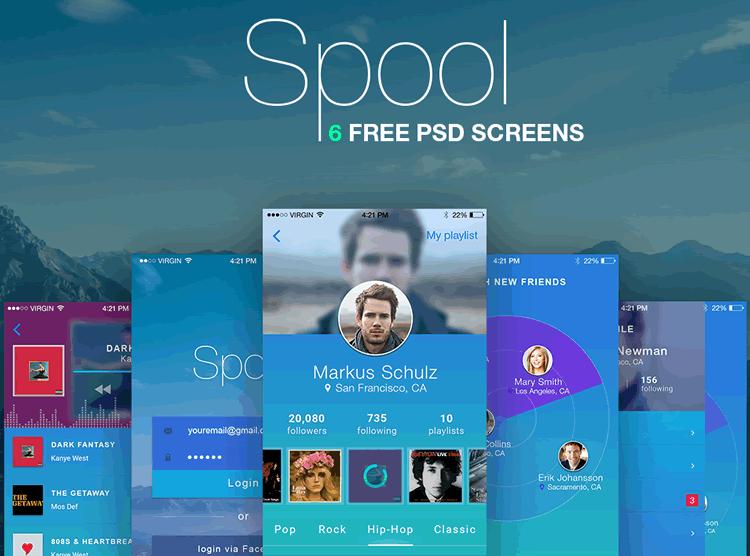 Spool Mobile UI Kit 6 Screens PSD Format Sergey Melnik