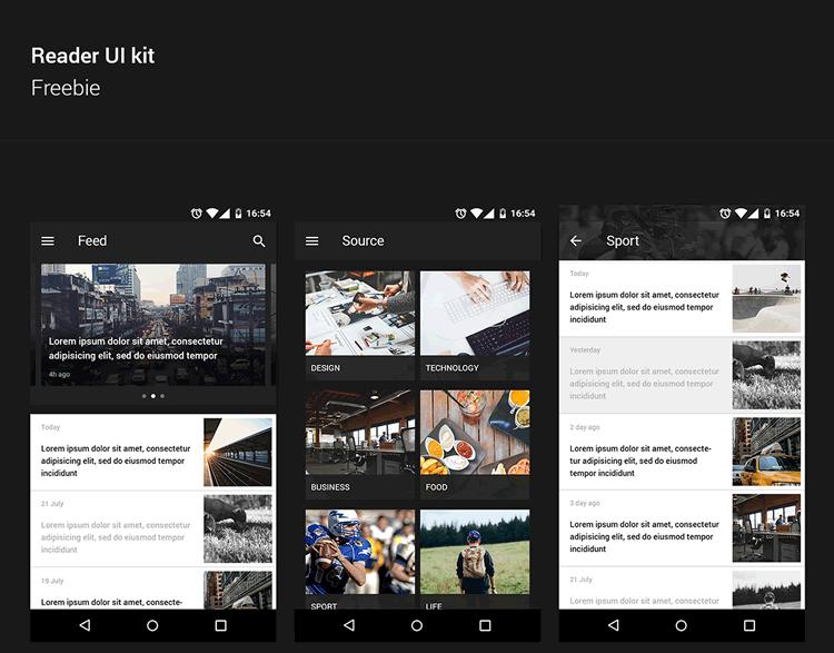 Reader UI Kit for Android 8 Screens PSD Format Andrey Novozhilov