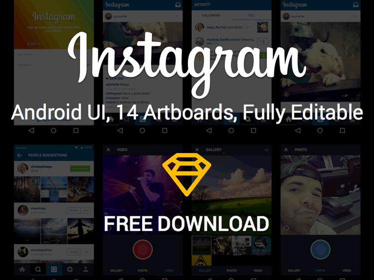 Instagram Android UI Kit 14 Screens Sketch Format Arjun Rajkishore