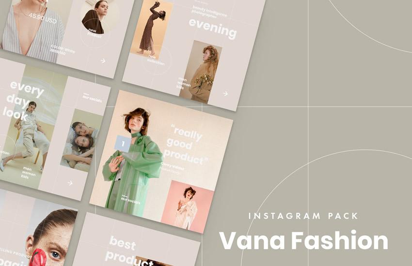 Vana Fashion instagram social media template pack format sketch app