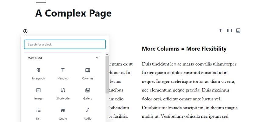 A multi column page layout in WordPress.