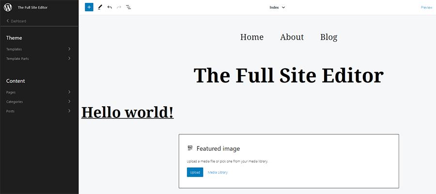 The WordPress Site Editor sidebar.