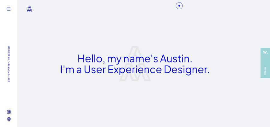 Austin McKinney Sticky Vertical Navigation Web Design Inspiration