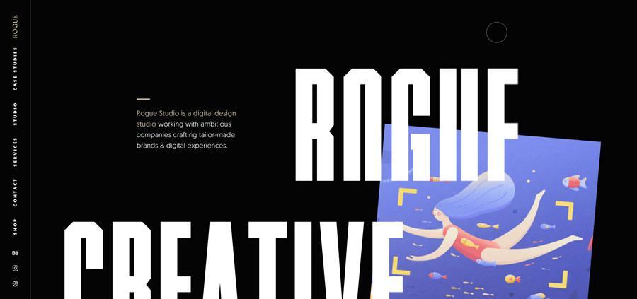 Rogue Studio Sticky Vertical Navigation Web Design Inspiration